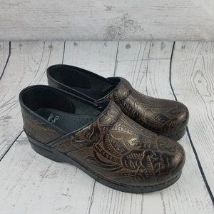 DANSKO Brown Leather Tooled Embossed Floral Clog